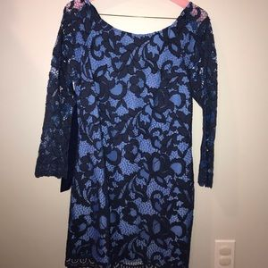 navy and blue lace Lilly dress